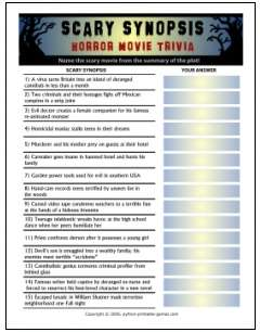 Scary Synopsis Movie Trivia Game
