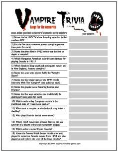 Halloween Games: Vampire Facts Trivia
